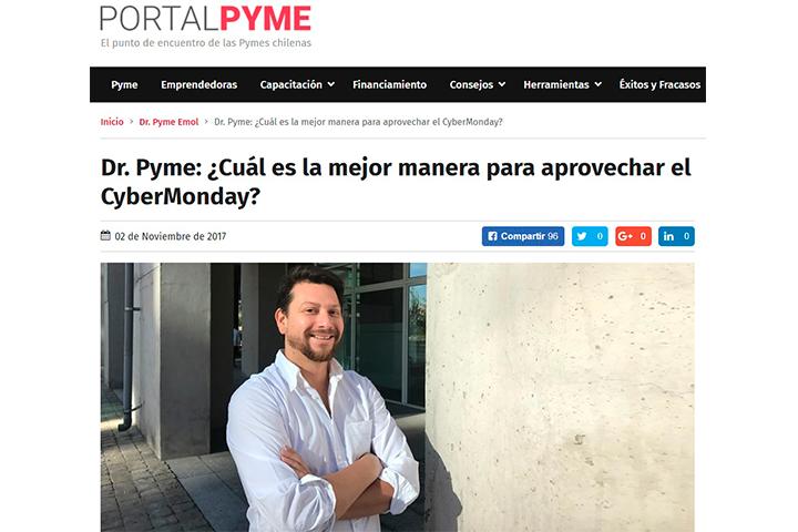 Emol, Noviembre 2017: Dr. Pyme: ¿Cuál es la mejor manera para aprovechar el CyberMonday?