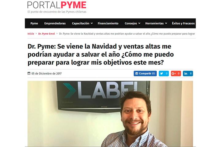 Emol, Diciembre 2017: Dr. Pyme: Se viene la Navidad y ventas altas me podrían ayudar a salvar el año ¿Cómo me puedo preparar para lograr mis objetivos este mes?