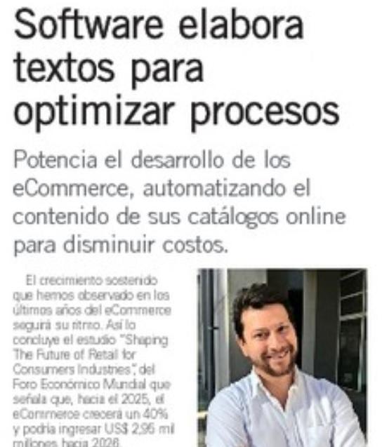 El Mercurio, Marzo 2017: Software elabora textos para optimizar procesos
