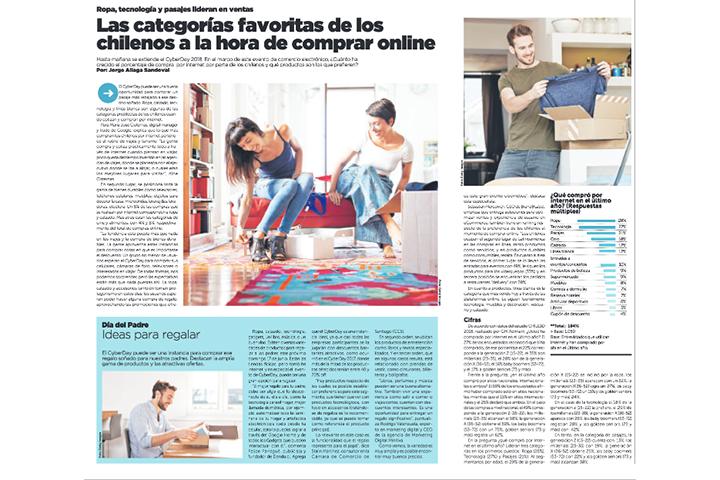 La Tercera, Mayo 2018: Las categorías favoritas de los chilenos a la hora de comprar online