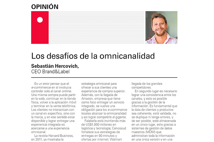 El Mercurio, Junio 2018: Los desafíos de la omnicanalidad
