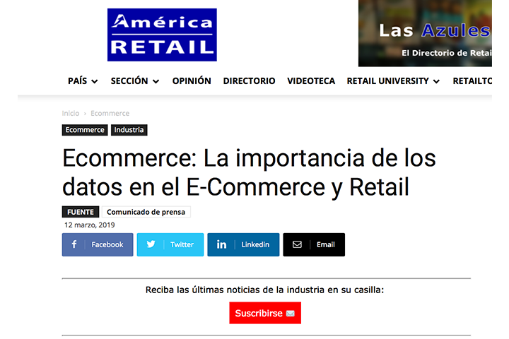 América Retail, marzo 2019: Ecommerce: La importancia de los datos en el E-Commerce y Retail