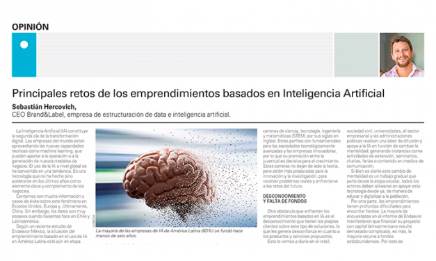 El Mercurio: Principales retos de los emprendimientos basados en Inteligencia Artificial