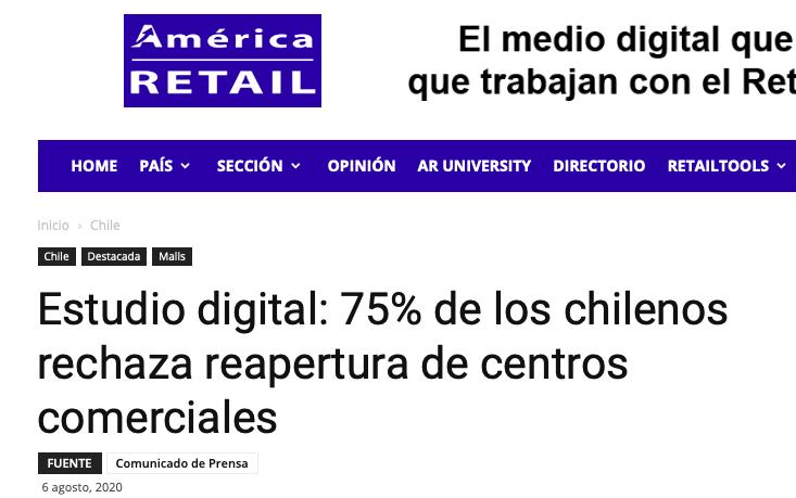 América Retail: 75% de los chilenos rechaza la reapertura de los centros comerciales